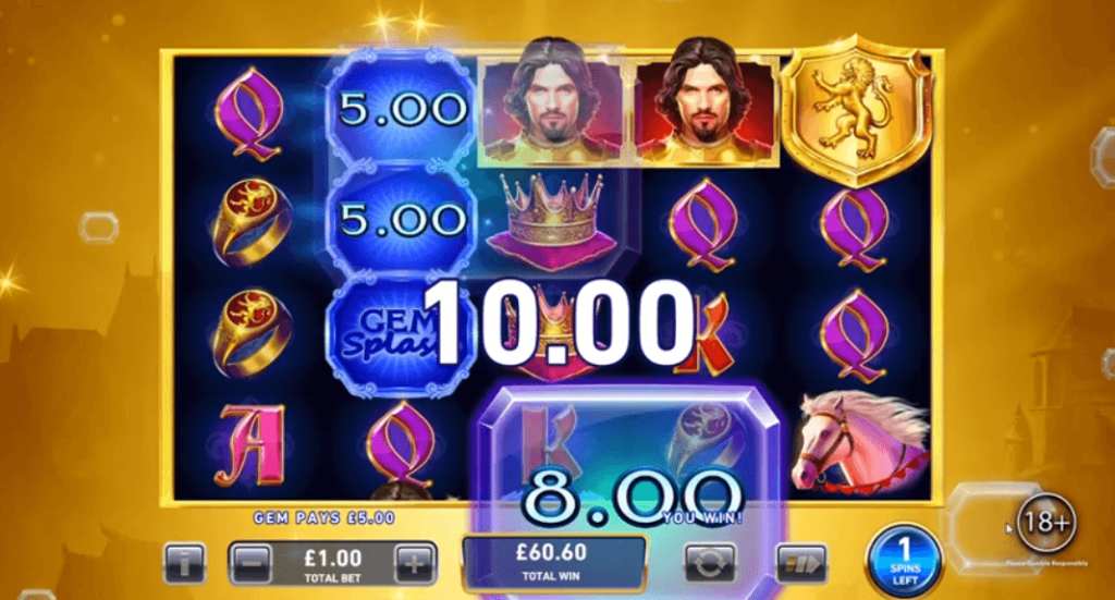 Gem Splash Kings Court Bonus Game